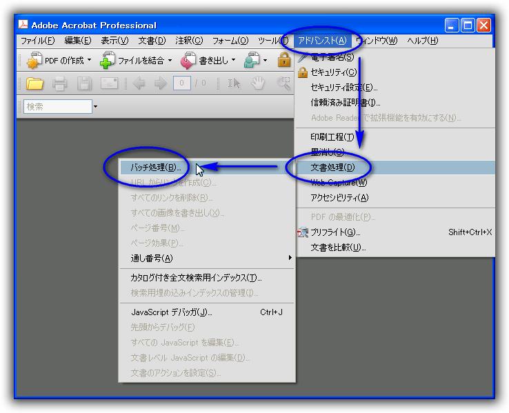 Acrobat 8 のJavaScript デバッガー・コンソールでJavaScriptを実行